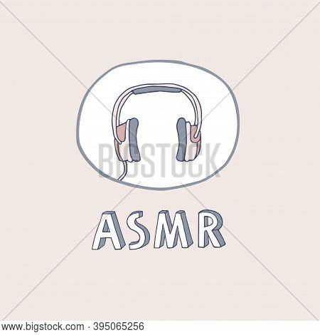 Headphones Logo, Icon. Asmr Concept Vector Illustration In Pastel Colors. Autonomous Sensory Meridia