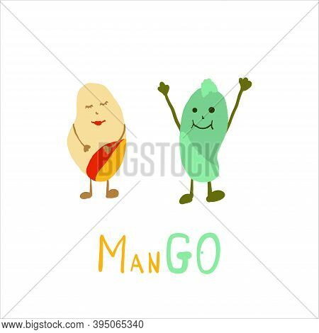 Two Mangos He And She With Hand Drawn Text Mango. Mango Characters Concept Colorful Flat Vector Illu