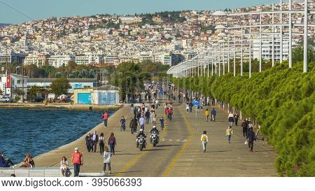 Thessaloniki, Greece - October 26 2020: Greek Police Patrolling If People Wear Covid-19 Masks Outdoo
