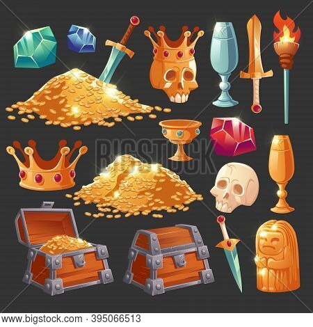Cartoon Treasure Chest With Golden Coins, Crystal Magic Gems, Human Skull In Crown, Sword In Gold Pi