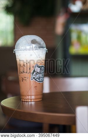 Bangkok, Thailand - November 16, 2020 : Iced Mocha Coffee With Milk Of Amazon Brand On A Table At Am