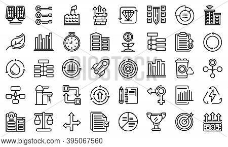 Sustainable Development Icons Set. Outline Set Of Sustainable Development Vector Icons For Web Desig