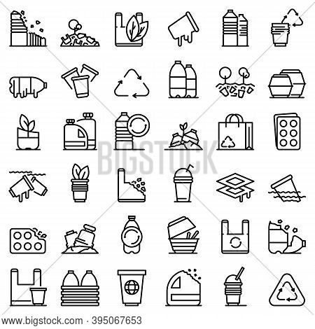 Biodegradable Plastic Icons Set. Outline Set Of Biodegradable Plastic Vector Icons For Web Design Is