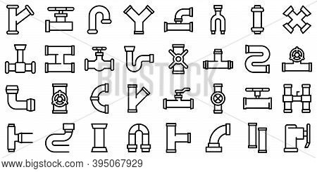 Pipe Icons Set. Outline Set Of Pipe Vector Icons For Web Design Isolated On White Background