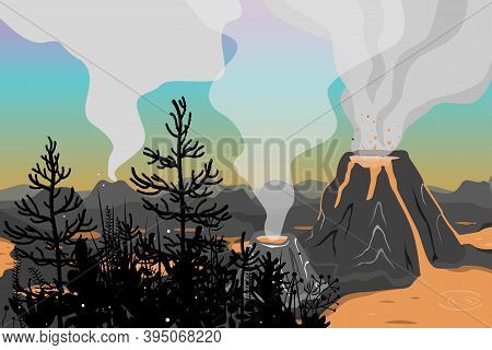 Prehistoric Landscape With Jurassic Flora And Volcano Eruption, Lava And Smoky Sky. Vector Backgroun