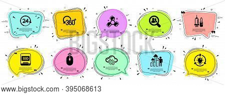 Science Icons Set. Speech Bubble Offer Banners. Vector Coupon Badge. Included Icon As Search Employe