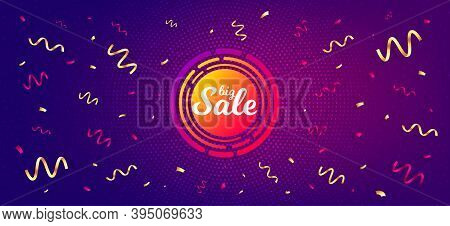 Big Sale Sticker. Festive Confetti Background With Offer Message. Discount Banner Shape. Coupon Desi