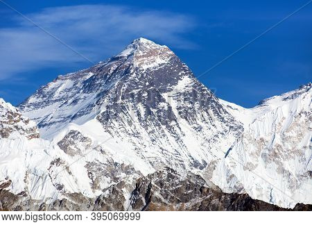 Top Of Mount Everest From Gokyo Valley With Southern Saddle - Way To Everest Base Camp - Nepal Himal