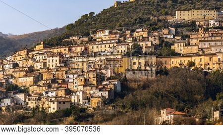 Townscape Of The Medieval Town Alvito Amid The Italian Apennines Mountains In The South-east Lazio R
