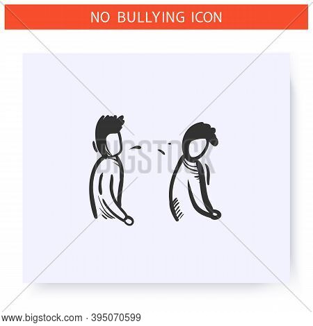Spitting Icon. Physical Bullying. Outline Sketch Drawing. Man Spits On Another Man.aggressive Behavi