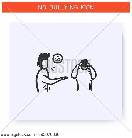 Taunting Icon. Verbal Bullying. Outline Sketch Drawing. Man Taunts Another Man. Aggressive Behaviour