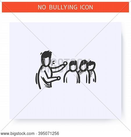 Collective Bullying Icon.victim Blaming. Haters Around Man. Outline Sketch Drawing. Aggressive Behav
