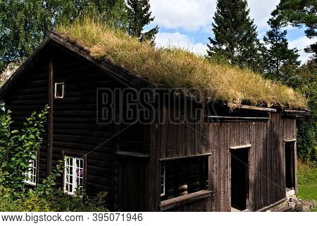 Old Medieval Farm House With Green Grass Turf Roof.