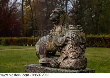 Old Abandoned Ruined Baroque Libechov Castle, Sculptures In Castle Garden, Romantic Chateau Was Heav