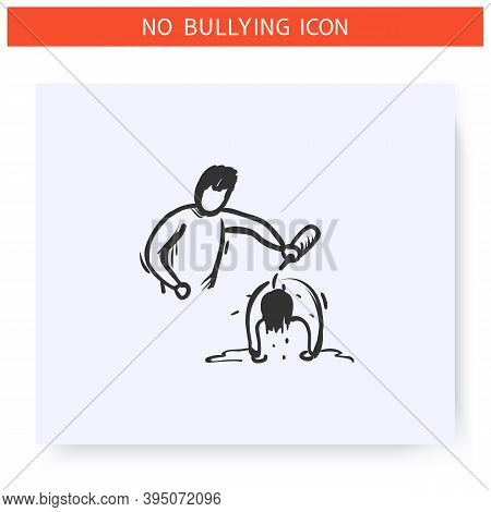 Mockery Icon. Physical Bullying. Outline Sketch Drawing. Man Scoffs Another Man. Aggressive Behaviou