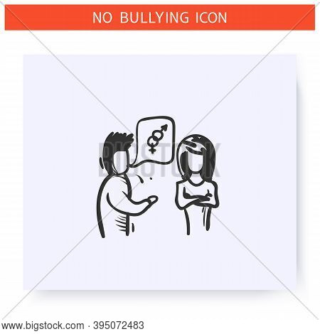 Sexual Harassment Icon. Verbal Bullying. Outline Sketch Drawing. Man Harassing Woman. Aggressive Beh