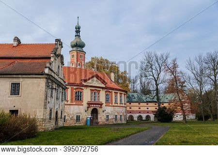 Old Abandoned Ruined Baroque Libechov Castle In Sunny Autumn Day, Romantic Chateau Was Heavily Damag