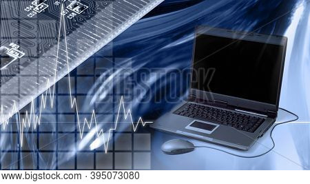 Conceptual photo-illustration. Computers and electronics modern technology concept in blue colors.