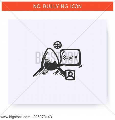 Internet Trolling Icon.harassing Text Messages.outline Sketch Drawing. Anonymous Taunting Email, Onl