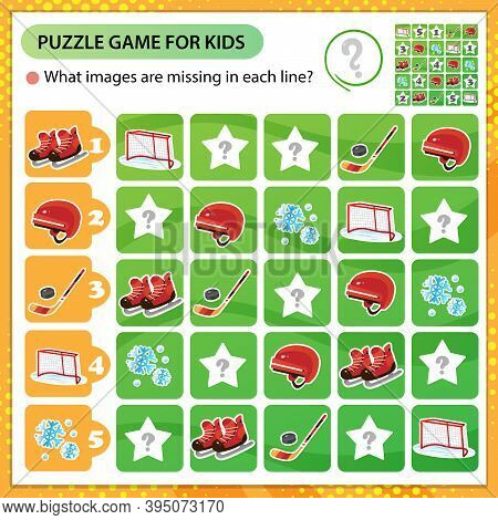 Sudoku Puzzle. What Images Are Missing In Each Line? Sports Equipment. Hockey. Skates With Helmet, S