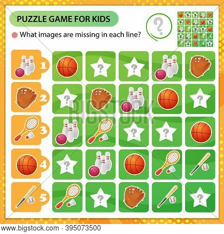 Sudoku Puzzle. What Images Are Missing In Each Line? Sports Equipment. Basketball, Badminton, Baseba