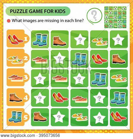 Sudoku Puzzle. What Images Are Missing In Each Line? Shoes. Sports Sneakers, Children's Boots, Women