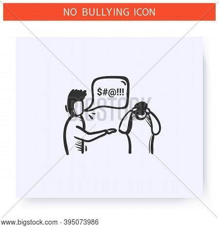 Swearword Icon. Verbal Bullying. Outline Sketch Drawing. Man Cursing Another Man. Aggressive Behavio