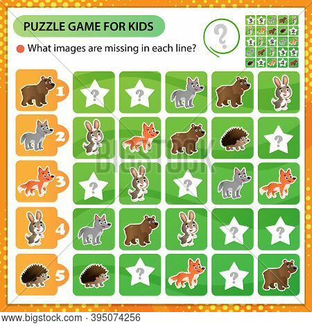 Sudoku Puzzle. What Images Are Missing In Each Line? Wild Animals. Bear, Wolf, Hedgehog, Hare, Fox.