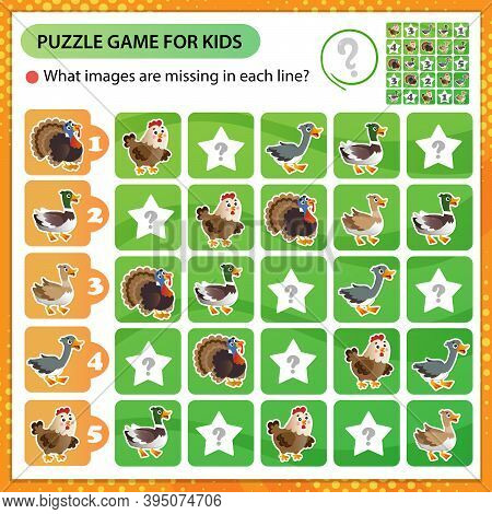 Sudoku Puzzle. What Images Are Missing In Each Line? Farm Animals. Poultry. Turkey, Goose, Duck, Dra