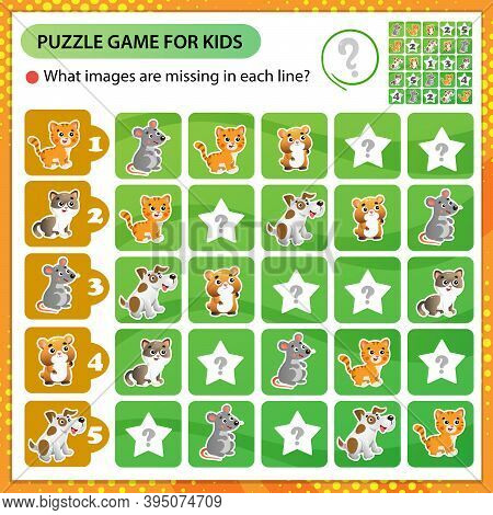 Sudoku Puzzle. What Images Are Missing In Each Line? Animals. Cats, Mouse, Hamster, Dog. Logic Puzzl