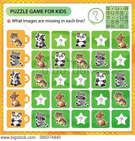 Sudoku Puzzle. What Images Are Missing In Each Line? Little Animals. Panda, Raccoon, Badger, Chipmun