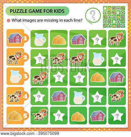 Sudoku Puzzle. What Images Are Missing In Each Line? Farm Animals. Cow. Logic Puzzle For Kids. Educa