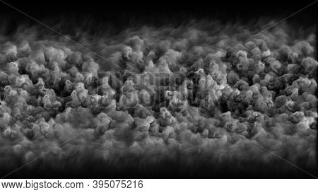 Computer Generated Realistic Background Of Dense Smoke, 3d Render Abstract Dense Clouds