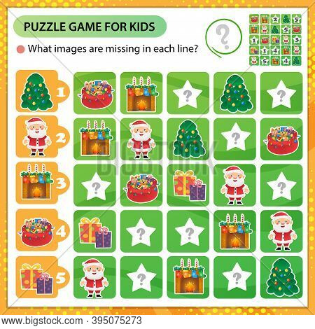 Sudoku Puzzle. What Images Are Missing In Each Line? Christmas. New Year. Logic Puzzle For Kids. Edu