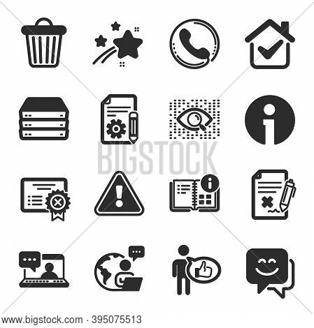 Set Of Technology Icons, Such As Artificial Intelligence, Smile Face, Reject File Symbols. Like, Rej