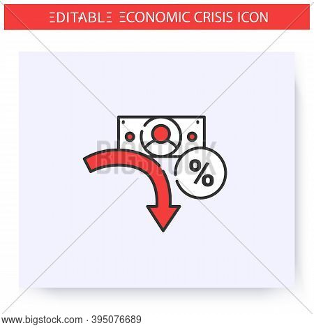 Profit Drop Line Icon. Profit Reduction, Financial Recession. Downfall Arrow And Banknote. Economica
