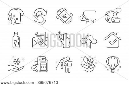 Move Gesture, Wash T-shirt And Cloud Upload Line Icons Set. Water Bottle, Air Balloon And Megaphone