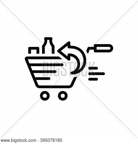 Black Line Icon For Return Grocery Product Supermarket Market Comeback Regress Repayment Regression