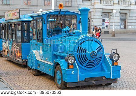 Zagreb, Croatia - November 3, 2019: Blue Train Locomotive Vehicle For Tourist Sightseeing Tour In Za