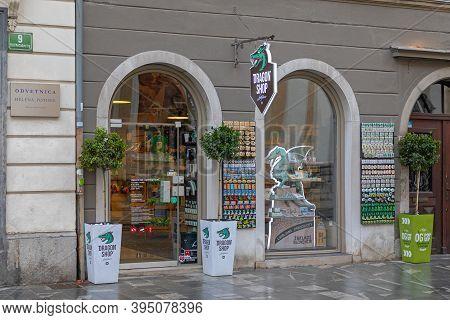 Ljubljana, Slovenia - November 4, 2019: Souvenirs Dragon Shop Exterior In Ljubljana, Slovenia.