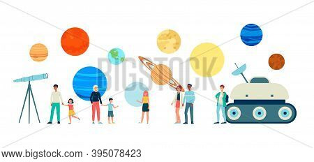 A Set Of Vector Isolated Characters Of People Visiting The Planetarium