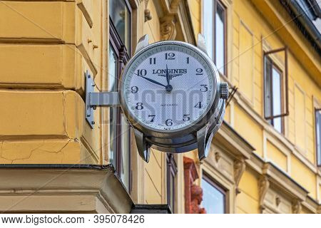 Ljubljana, Slovenia - November 4, 2019: Big Longines Automatic Clock At Shop Wall In Ljubljana, Slov