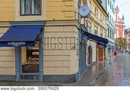Ljubljana, Slovenia - November 4, 2019: Longines Watch Shop At Wolf Street In Ljubljana, Slovenia.