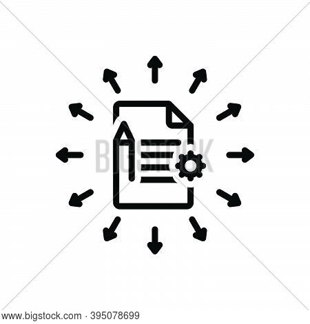 Black Line Icon For Assign Allow Appoint Script Document Summary Notebook Notepad Page