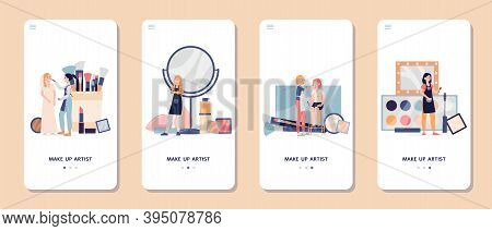 Makeup Beauty Visage Artist Services App, Flat Vector Illustration Isolated.