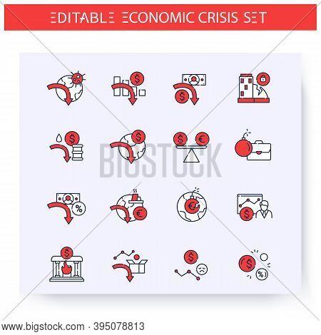 Global Economic Crisis Line Icons Set. Financial Crisis And Profit Drop. Market Collapse, Global Fin