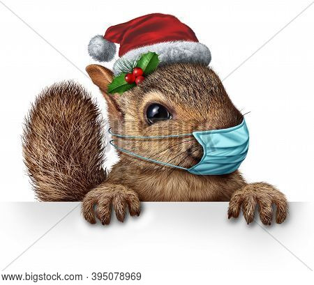 Healthy Holiday Squirrel Wearing A Face Mask As A Friendly Furry Rodent Character Gripping A Billboa
