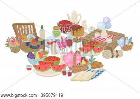 Picnic Food Set With Basket, Fruits And Watermelon. Vector Cartoon Illustration