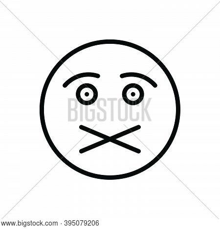 Black Line Icon For Silence Taciturnity Don't-tell Shut Lockfast High-necked Quiet Secret Hush Keep-