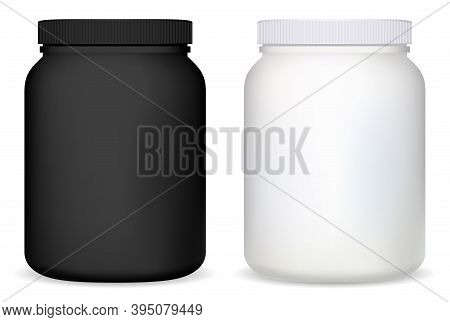 Protein Jar. White Plastic Supplement Bottle Vector Blank. Whey Powder Container, Matte Round Mockup